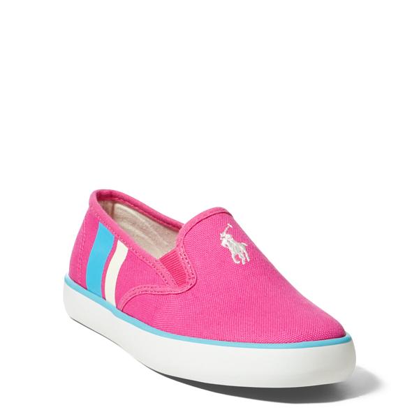 Ralph Lauren Piper Canvas Slip-On Sneaker Fuchsiaw/White Pp-Teal 2.5