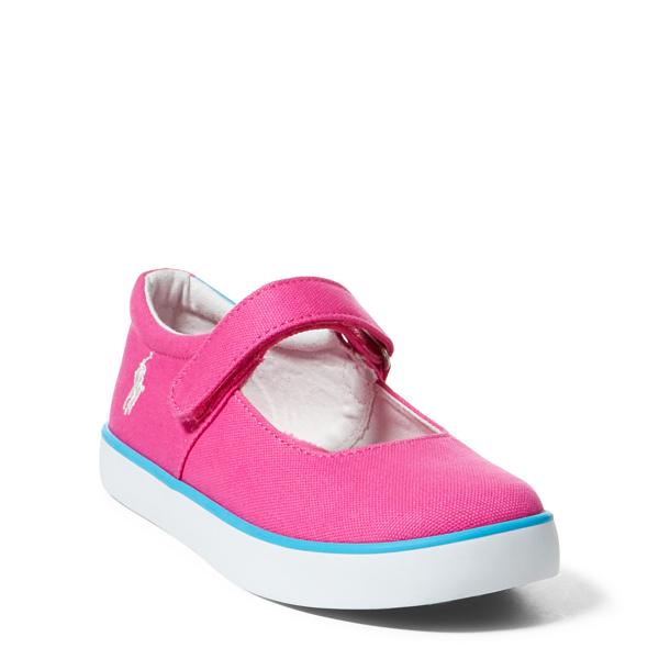 Ralph Lauren Pamela Canvas Sneaker Fuchsia Canvas W/ Teal Pp 2.5