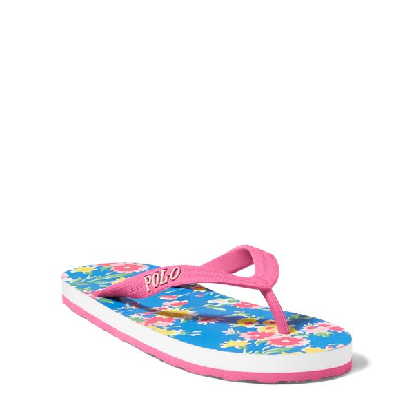 Ralph Lauren Hailey Floral Flip-Flop Blush Pink/Blue Multi 5