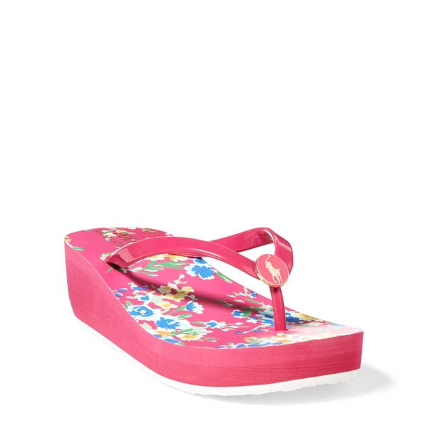 Ralph Lauren Borolla Wedge Sandal Pink/Yellow Multi Floral 4