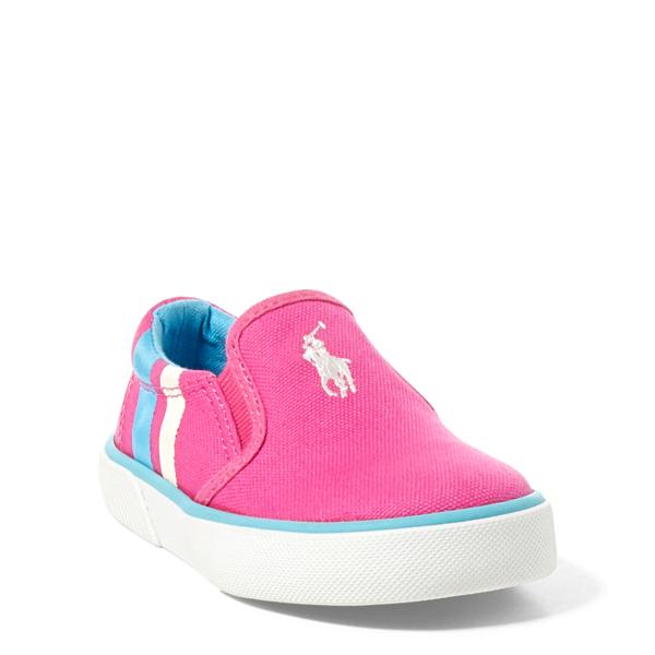 Ralph Lauren Prezli Canvas Ez Sneaker Pink Canvas W/ White 5.5