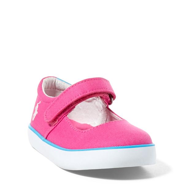 Ralph Lauren Pamela Canvas Sneaker Fuchsia Canvas W/ Teal Pp 8.5