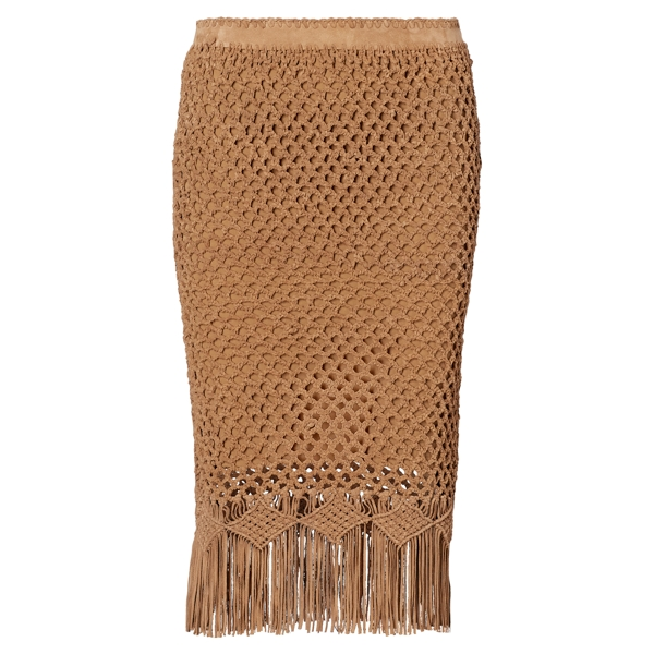 Ralph Lauren Fringe Crocheted Suede Skirt Cortina Tan 2