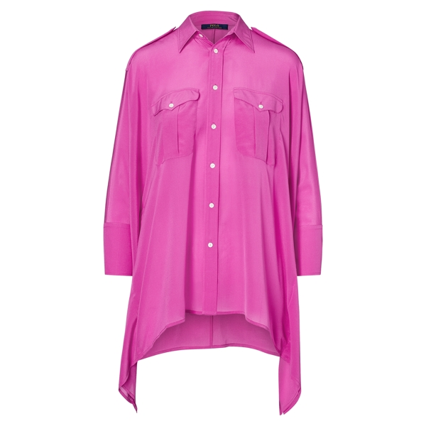 Ralph Lauren Silk Poncho Shirt Desert Magenta Xs/S