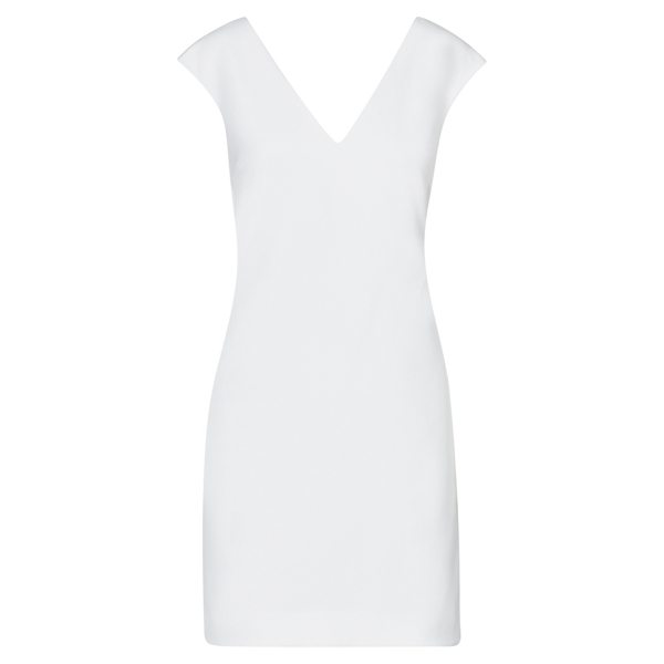 Ralph Lauren Crepe V-Neck Shift Dress Pure White 2