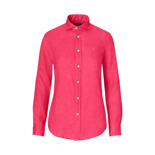 Ralph Lauren Relaxed Fit Linen Shirt Bright Pink 0