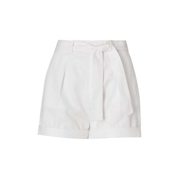 Ralph Lauren Cotton-Linen Belted Short Pure White 10