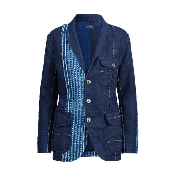 Ralph Lauren Linen 3-Button Blazer Indigo Multi 2