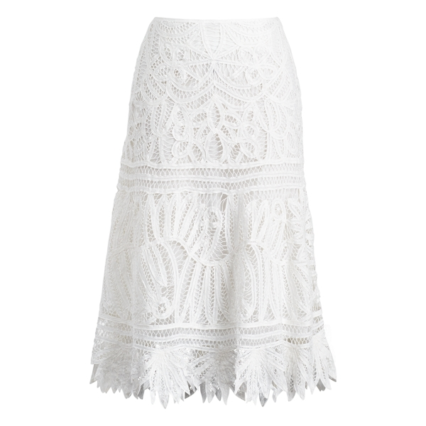 Ralph Lauren Cotton Lace Midi Skirt Pure White 8