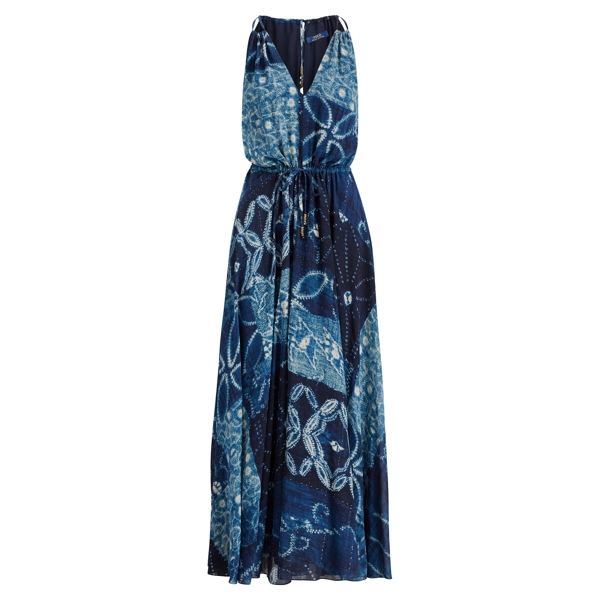 Ralph Lauren Silk Georgette Maxidress Shibori Patchwork 2