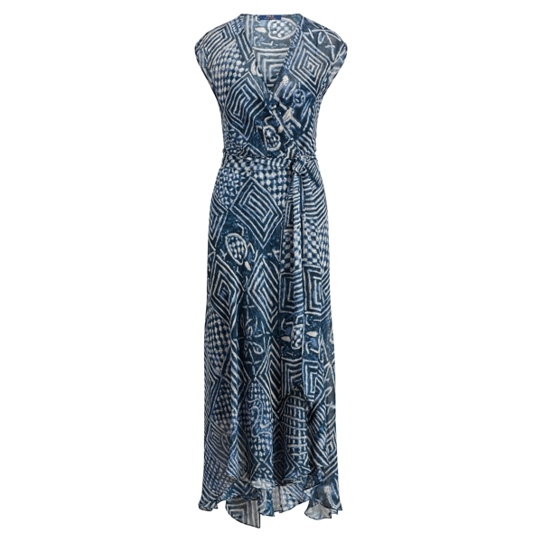 Ralph Lauren Silk Gauze Wrap Dress Block Print 4