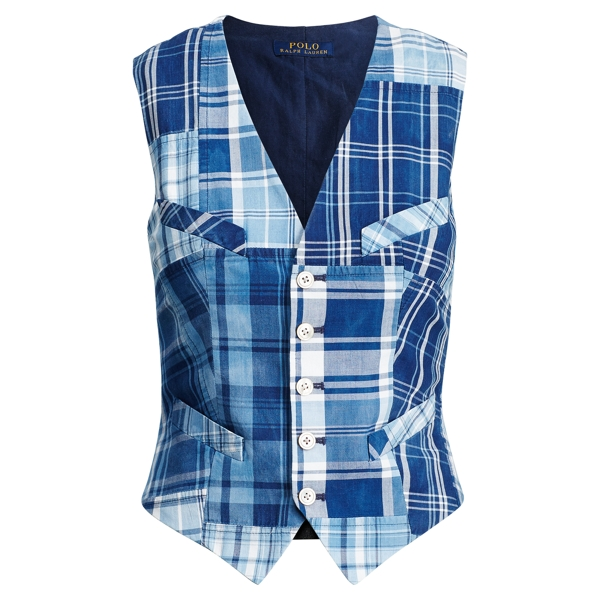Ralph Lauren Patchwork Cotton Madras Vest 344 Indigo Patchwork 4