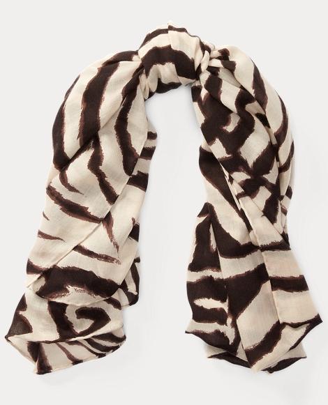 Zebra-Print Cashmere Scarf