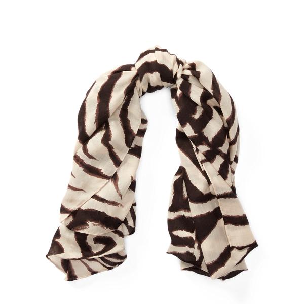 Ralph Lauren Zebra-Print Cashmere Scarf Zebra One Size