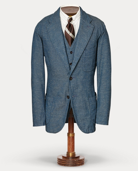 Indigo Cotton Suit Jacket