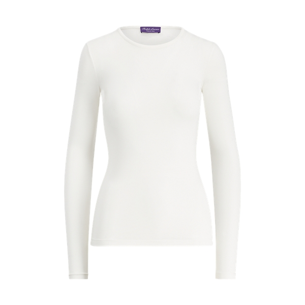Ralph Lauren Crewneck Long-Sleeve Tee Silk Cream S