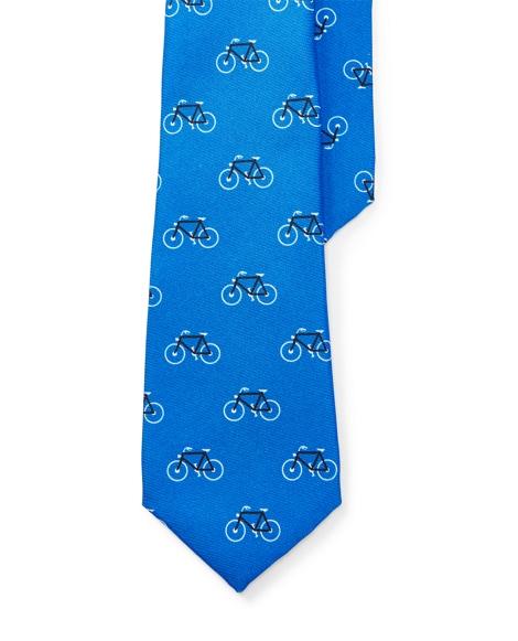 Bike-Print Silk Twill Tie