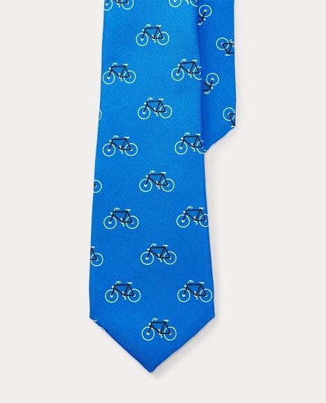 Bicycle-Print Silk Twill Tie