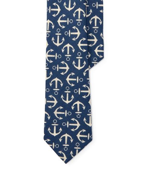 Anchor-Print Linen Tie