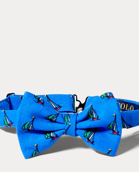 Sailboat-Print Linen Bow Tie