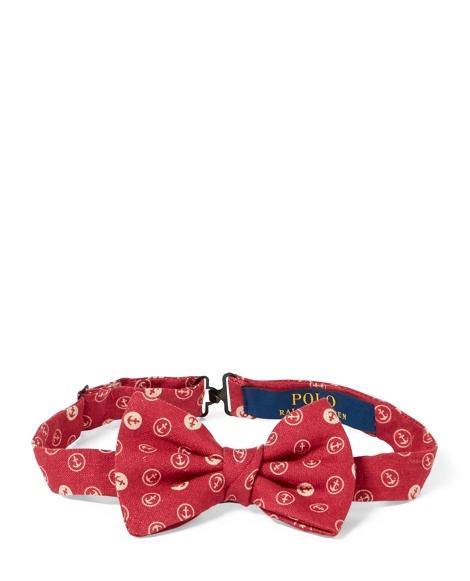 Anchor-Print Linen Bow Tie