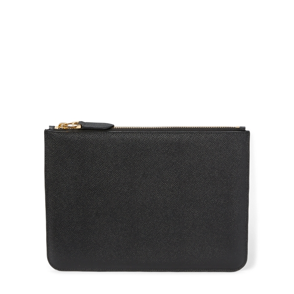 Ralph Lauren Embossed-Calfskin Zip Pouch Black One Size
