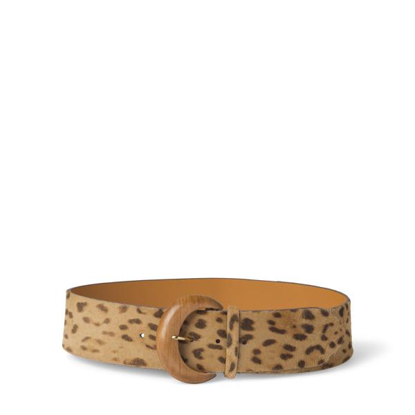 Ralph Lauren Leopard-Print Haircalf Belt Leopard L