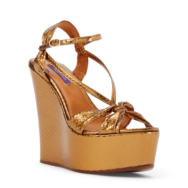Ralph Lauren Lynette Snakeskin Wedge Antique Gold 37.5