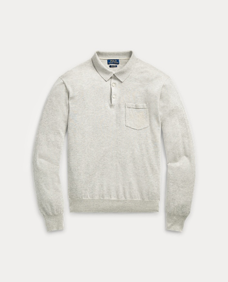 Polo-Collar Cotton Sweater