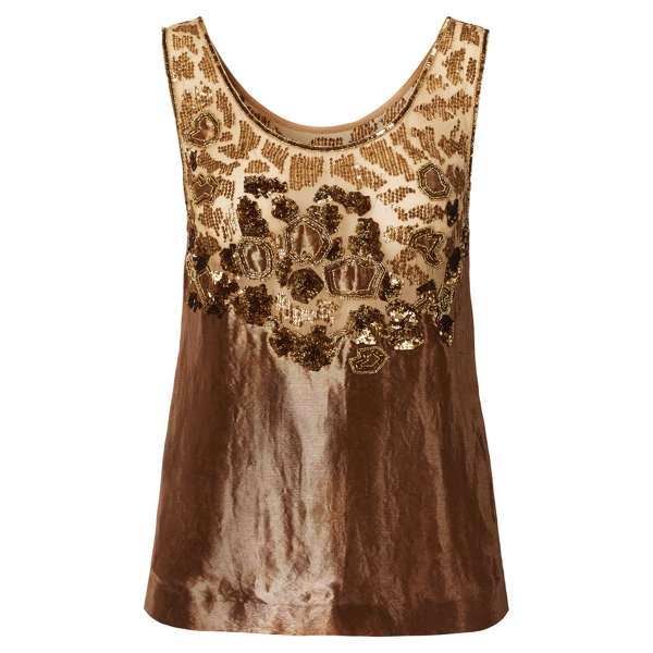 Ralph Lauren Alyssa Hand-Beaded Top Bronze 4