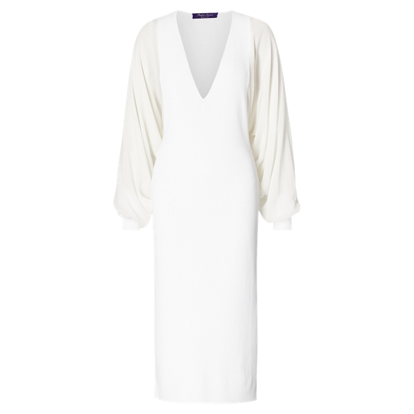 Ralph Lauren Silk-Sleeve Knit Dress Off White M