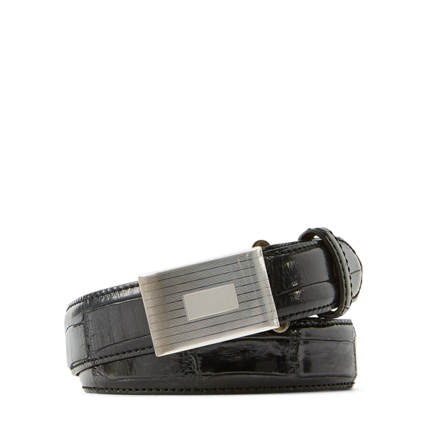 Ralph Lauren Alligator Engine-Buckle Belt Black M
