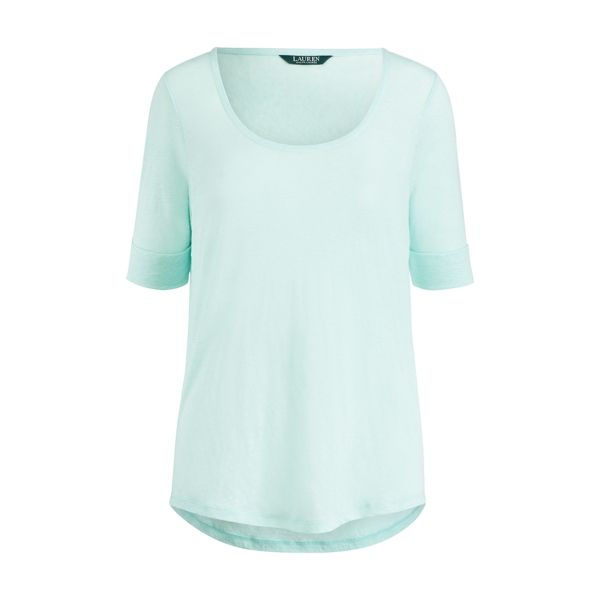 Ralph Lauren Linen Scoopneck Tee Light Aquamarine Xs
