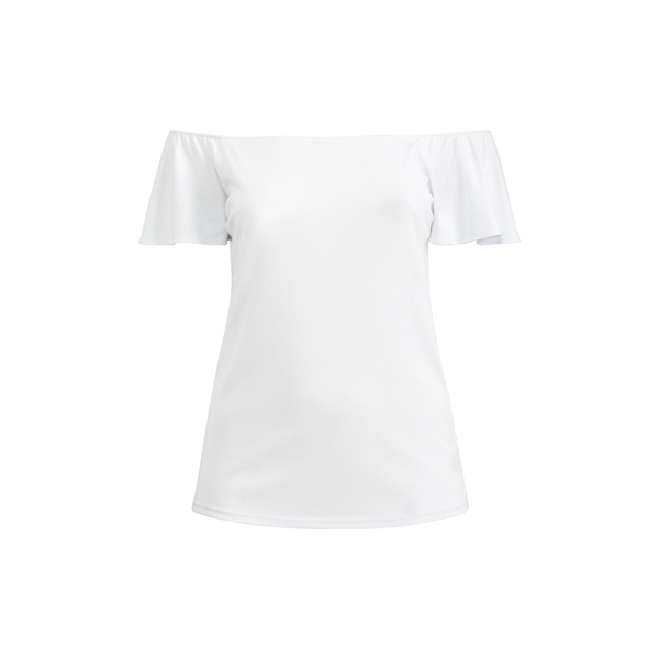Ralph Lauren Jersey Off-The-Shoulder Top White 1X