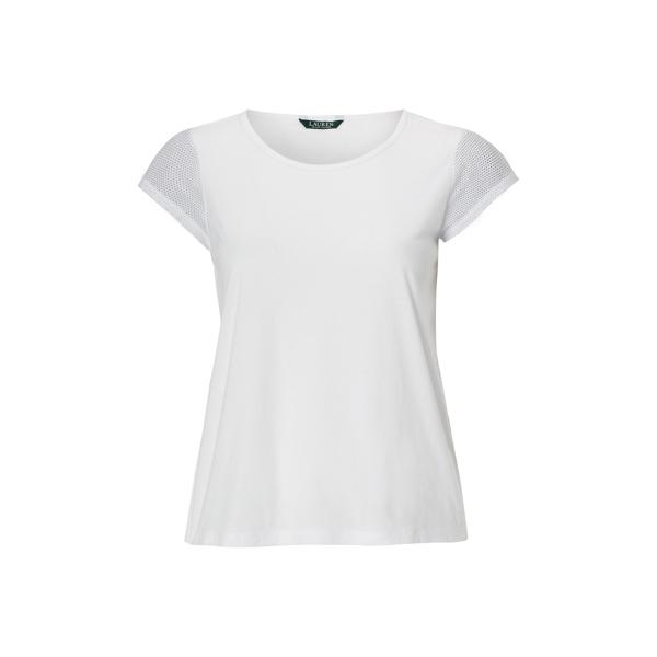 Ralph Lauren Mesh-Sleeve Jersey Tee White 1X