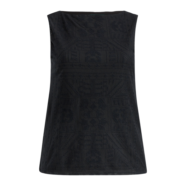 Ralph Lauren Geometric-Embroidered Tank Polo Black 1X