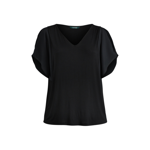 Ralph Lauren Crepe-Panel Jersey Top Polo Black 3X