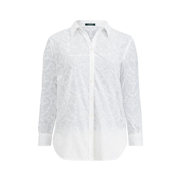 Ralph Lauren Eyelet Cotton Shirt White 3X