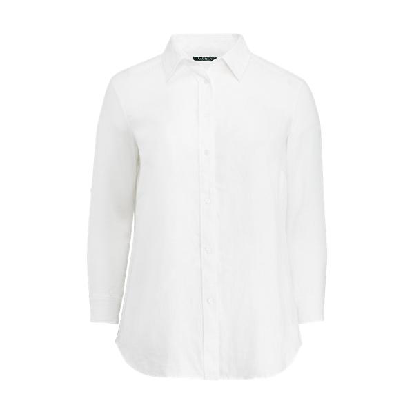 Ralph Lauren Linen Roll-Cuff Shirt White 2X