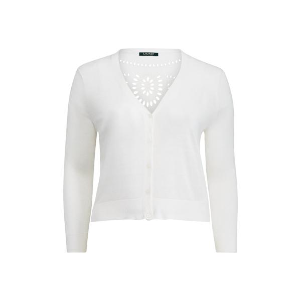 Ralph Lauren Eyelet-Back Linen Cardigan White 3X