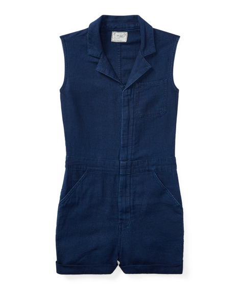Linen-Cotton Denim Romper