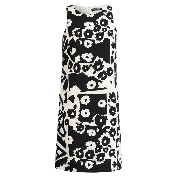 Ralph Lauren Floral-Print Crepe Dress Black-Colonial Cream 2