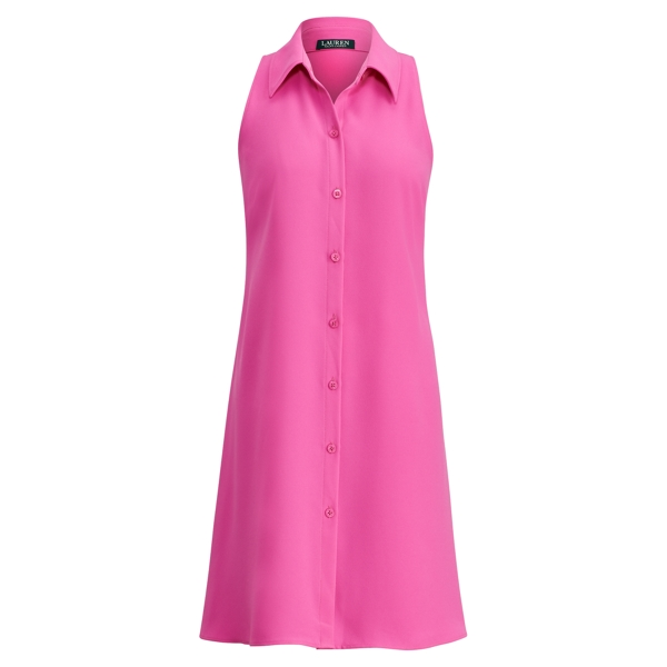 Ralph Lauren Crepe Fit-And-Flare Dress Orchid Pink 14