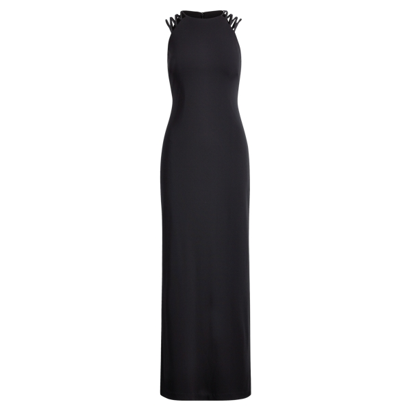 Ralph Lauren Crisscross-Strap Jersey Gown Black 6