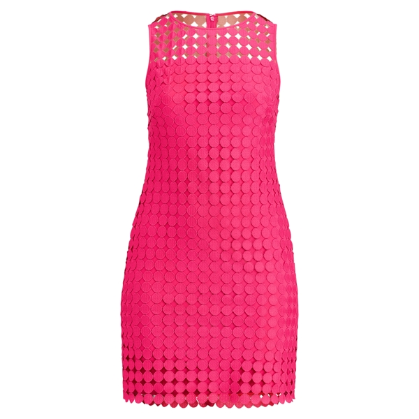Ralph Lauren Polka-Dot Lace Dress Caliente Pink 16