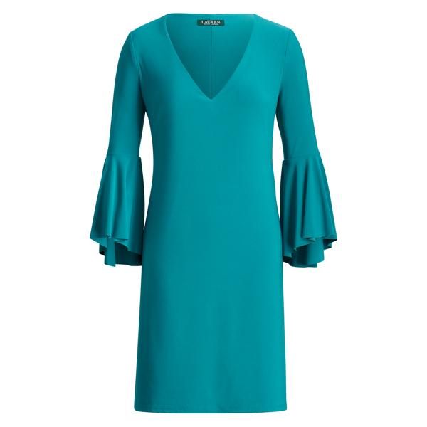 Ralph Lauren Flounce-Sleeve Jersey Dress Ocean Emerald 14