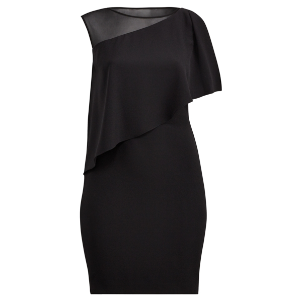 Ralph Lauren Crepe One-Shoulder Dress Black-Black 16