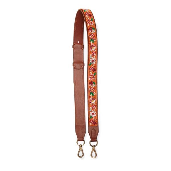 Ralph Lauren Floral Leather Strap Orange/Cuoio One Size