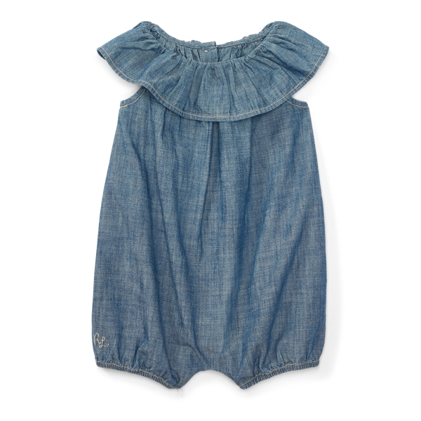 Ralph Lauren Ruffled Cotton Chambray Romper Quincy Wash 3M