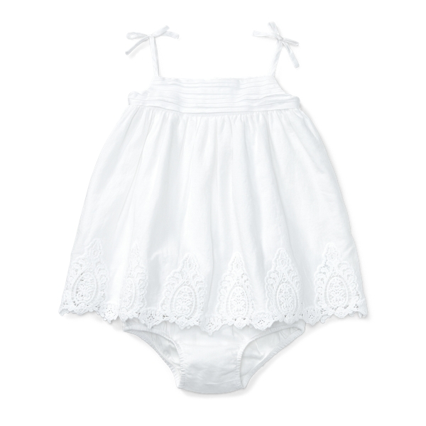 Ralph Lauren Lace-Trim Dress & Bloomer White 9M